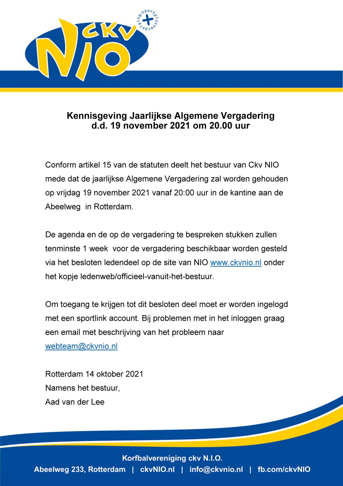 Mededeling bestuur 14 oktober 2021